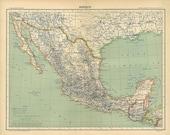 Vintage Map Mexico 1889
