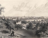 City of Providence Antique Steel Engraving 19th century Illustration  American Landscape, Wall Hanging