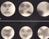 Astronomy Plate  Jupiter Satellites Vintage 1940s