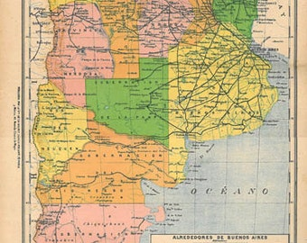 1905 Antique Map Argentina Colorful Lithograph