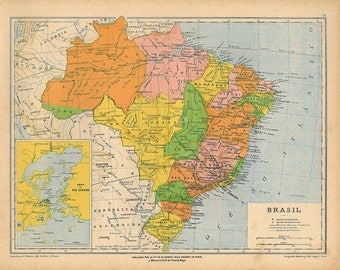 1912  Vintage Map of Brazil,  Political Division Antique Map, Wall Hangings