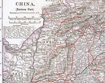 East China Vintage Map  1930s  Large to Frame