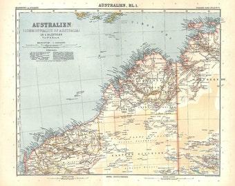 1912 Australia Vintage Map, Northern Territory, Western Australia