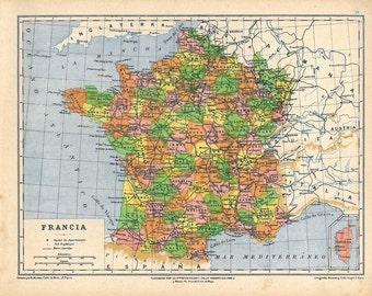 1912 Antique Map of France Political Division,  Retro Home Decor, Wall Decor