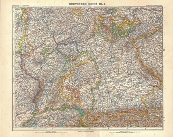 1914 Germany Antique Map South-West, Stielers Hand-Atlas Map