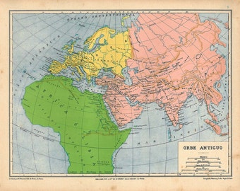 1929  Vintage Map of the Ancient World,  Historical Map
