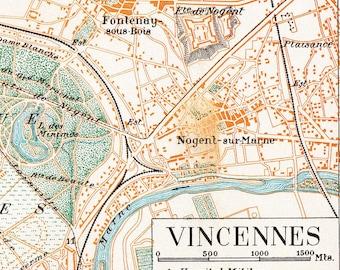 Vincennes Vintage City Plan  Street Map 1920s France