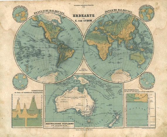 1847 Antique World Map  Emil von Sydow Rare