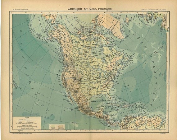 Vintage Map North America Physical 1899 Canada United States Mexico