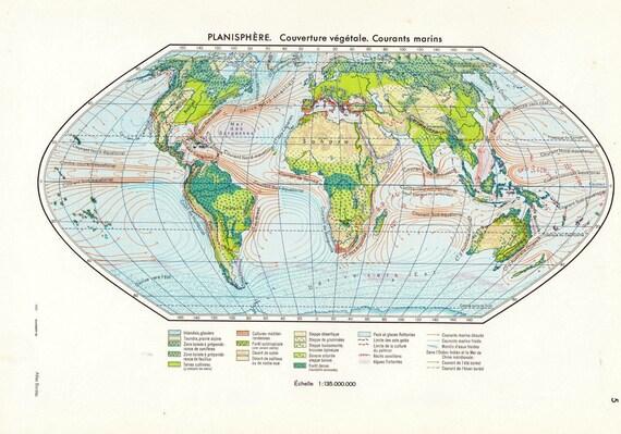 Vintage  World Map Vegetation, Ocean Currents 1950s