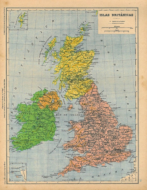 1929 British Islands Vintage Map Color Block Wall Art Antique Map Wall Hanging