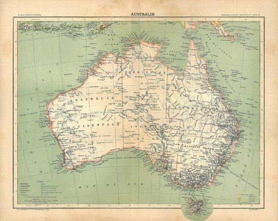 Australia 1889 Antique Map