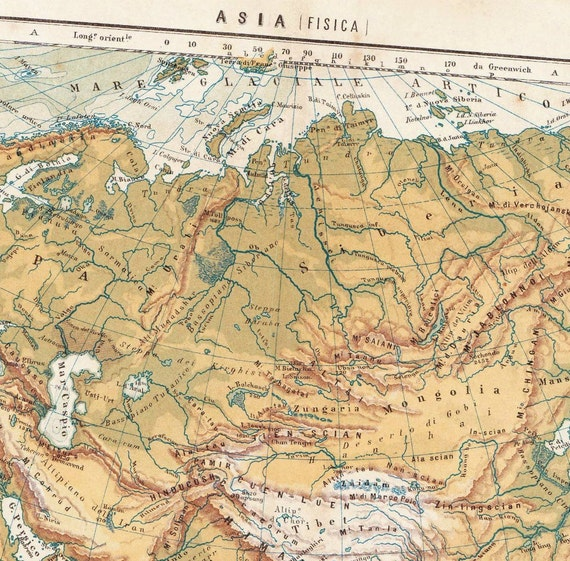 Asia Physical Map Antique1909