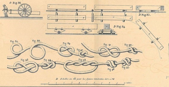 French Technical Drawing Dredge and Tools, Knots,  1872