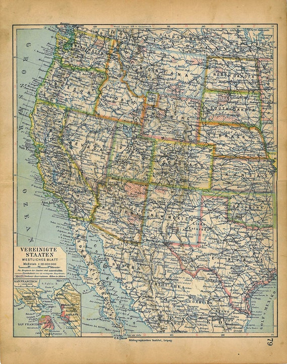 Vintage Map West United States USA 1928