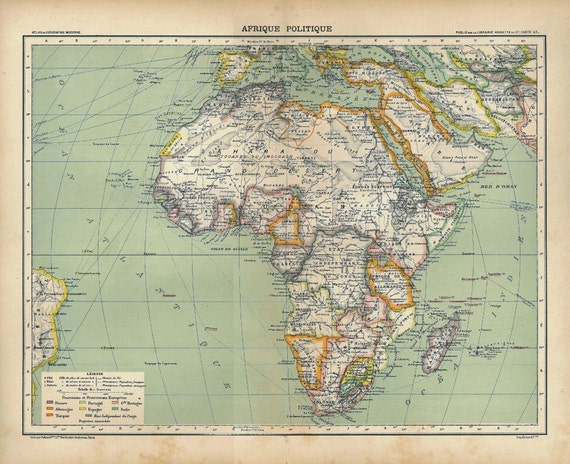1889 Vintage Map Africa Political Division