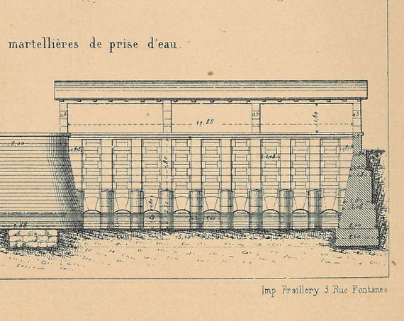 Antique French Technical Drawing 1874 Carpentras Irrigation Canal