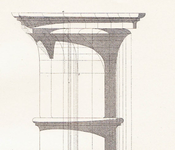 Corinthian Order Shadow Study Vignola Frontis with Modillons Capital Architectural Drawing Vintage