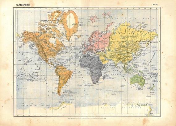Antique World Map 1910s