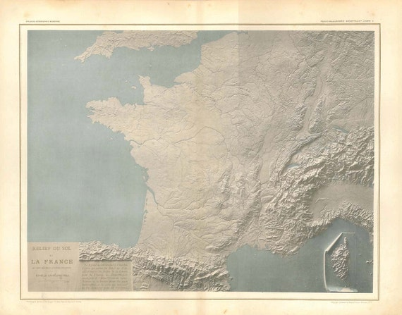 Antique Map France Rare 1889 Topography Shaded Relief