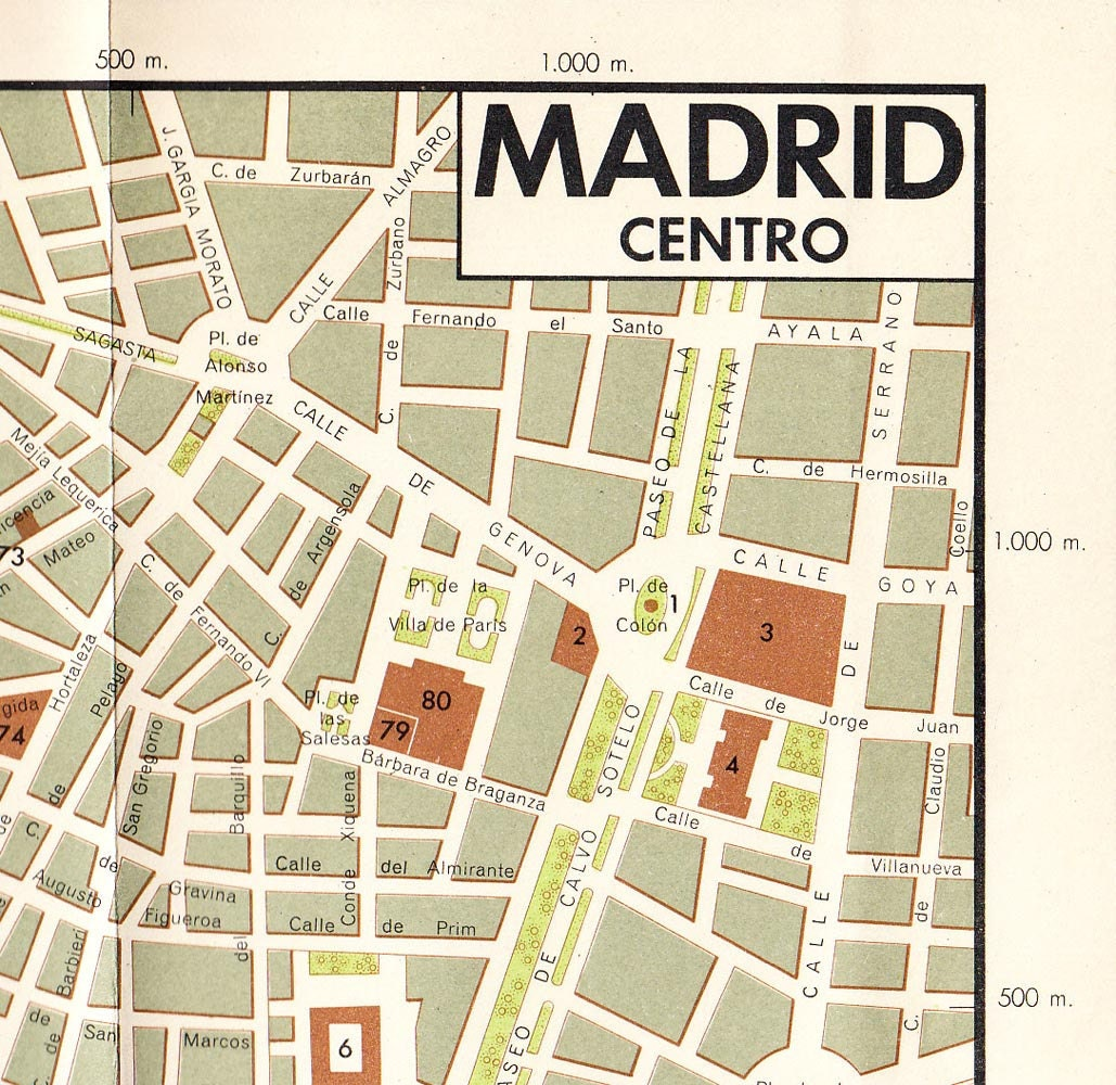 Madrid City Map Centre Vintage Street Map Spain 1950s