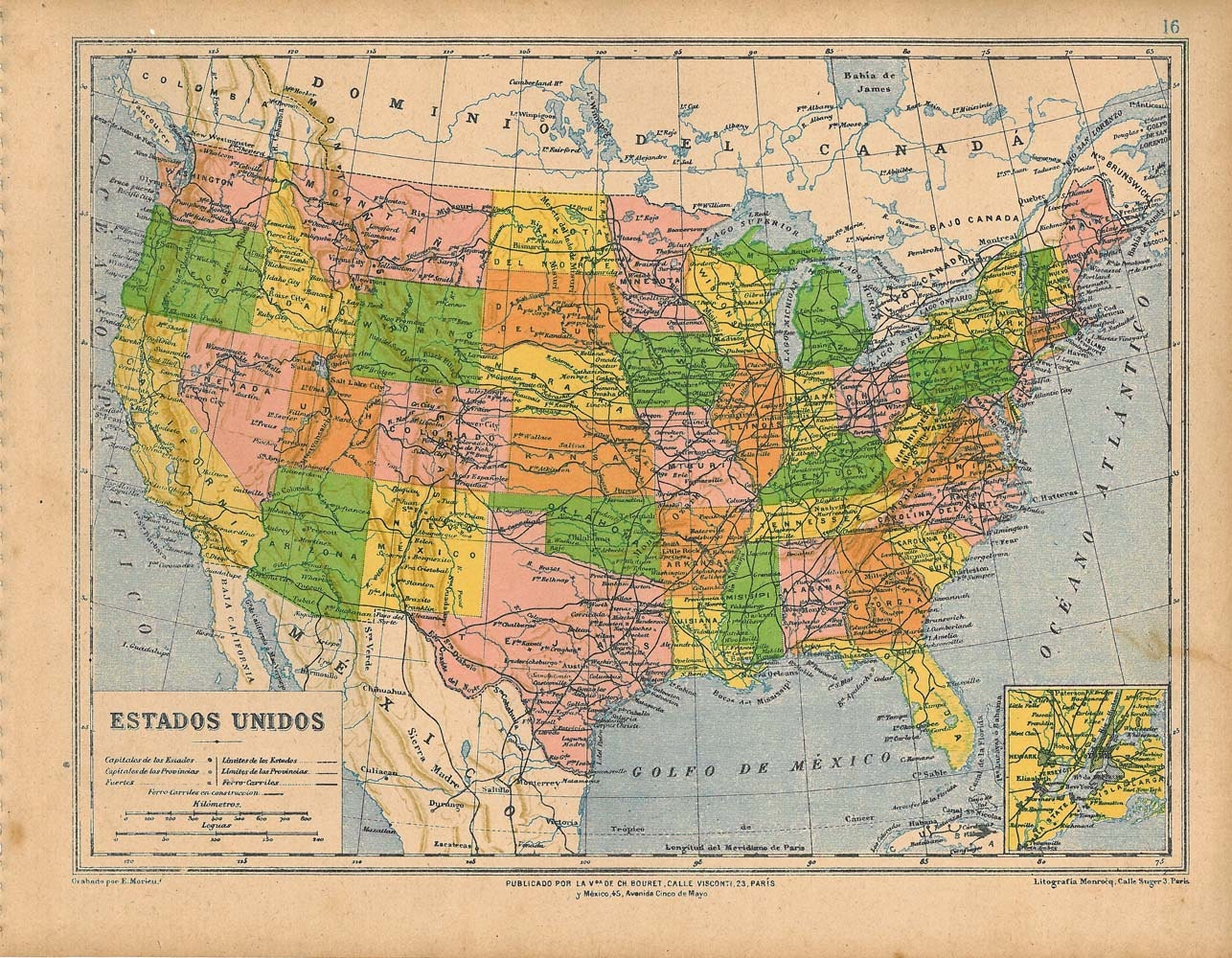Vintage colored map