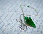 SALE- Meditation and Scrying PENDULUM  with  Small Altar Scrying Mirror SET-- Wiccan - Pagan- Metaphysical - New Age - with Pentacle Charm