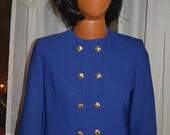 Herbert Grossman Button Down Women's Blue Blazer with Gold Buttons