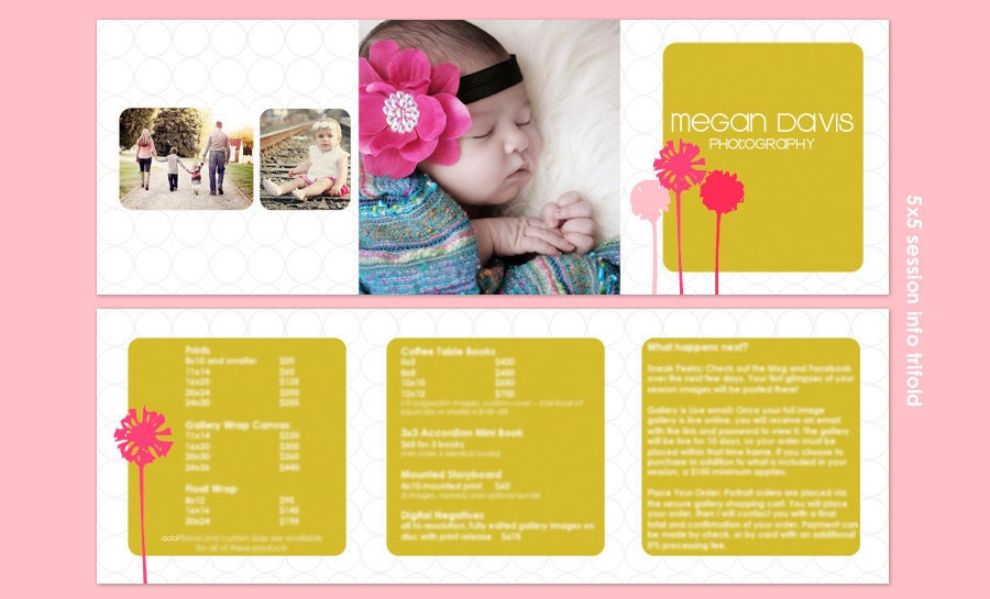 pop up brochure template - pop blooms 5x5 trifold marketing brochure price list info