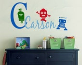 Wall Decal Monogram Childrens ROBOT Large ROBOTS