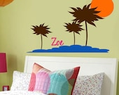 Childrens Monogram WALL DECAL Surfer Palm Tree LARGE