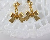 Bow Earrings, 24K Gold Plated