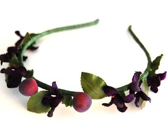 Romantic Chic fairy millinery violets, berries and leaves headband