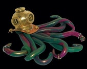 Steampunk 20,000 Leagues Under the Sea Octopus in Brass Diver's Helmet