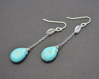 10% OFF,Leaf earrings,Turquoise earrings,Silver earrings,Anniversary gift, Earrings set,Necklace set, Lariat necklace, Cocktail jewelry