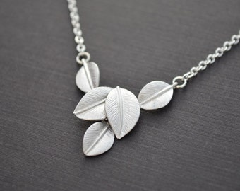 30% OFF, Leaves necklace, Silver necklace, Leaf necklace, Wedding necklace, Bridal necklace, Anniversary, Mother necklace, Rhodium necklace