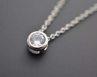 10% OFF, Mini necklace, Solitaire necklace,Silver Necklace,Wedding jewelry,Bridal necklace,Delicate necklace,Anniversary gift,Christmas gift
