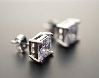 SALE, CZ earrings, Silver earrings, Wedding earrings, Bridal jewelry, Bridesmaid gift, Christmas gift, Anniversary gift, Post earrings