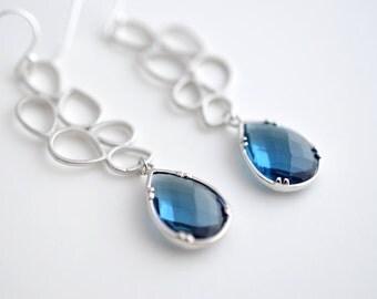 30% OFF, Sapphire Modern Drop Earrings, Silver Earrings, Wedding earrings, Bridal earrings, Bubble earrings,Bead earrings,Sapphire earrings
