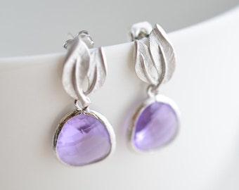 30% OFF, Lilac leaf earrings, Post earrings, Silver earrings, Bridal earrings,Wedding jewelry,Anniversary gift,Glass earrings,Christmas gift