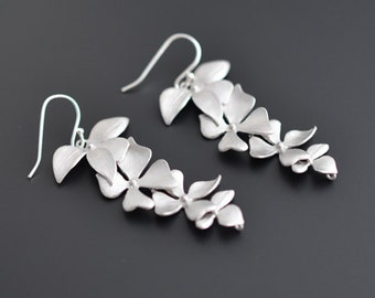 Beautiful long orchid earrings, silver earrings, wedding earrings, party jewelry, bridal jewelry, clip earrings, gift