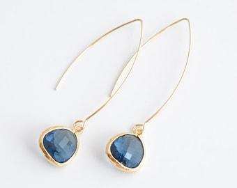 30% OFF, Modern sapphire blue linear earrings, Gold earrings, Wedding earrings, Bridesmaid gift, Anniversary gift, Crystal earrings