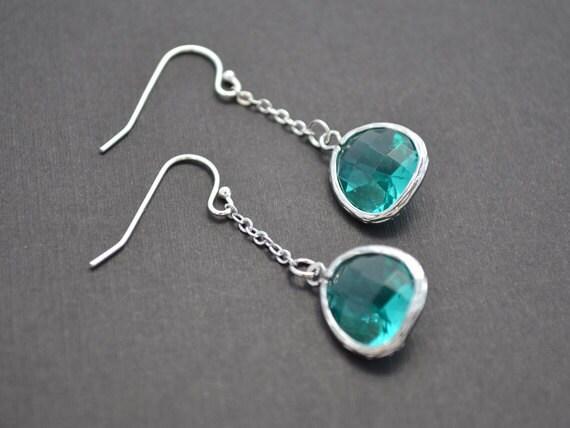 30% OFF, Emerald earrings, Glass earrings, Silver earring, Wedding earrings, Bridal earrings, Bead earrings, Clip earrings, Anniversary gift