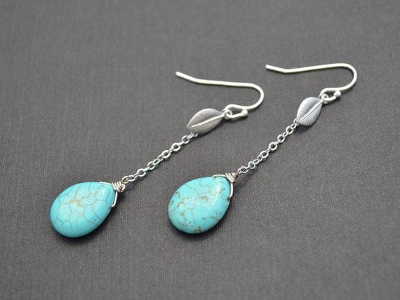 SALE, Leaf earrings, Turquoise earrings, Silver earrings, Anniversary gift,  Earrings set, Necklace set, Lariat necklace, Cocktail jewelry