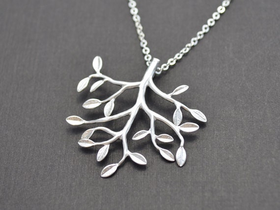 10% OFF, Leaf necklcace, Branch necklace, Pendants necklace,Tree necklace,Family necklace, Mother gift, Mother's Day Gift, Silver necklace