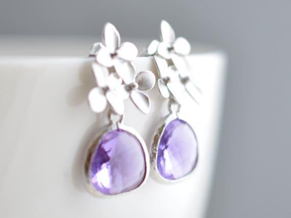 40% SALE, Lilac blossom earrings,silver earrings,wedding earrings,bridal jewelry,Bridesmaid gift,Birthday gift,Stud earrings,Flower earrings