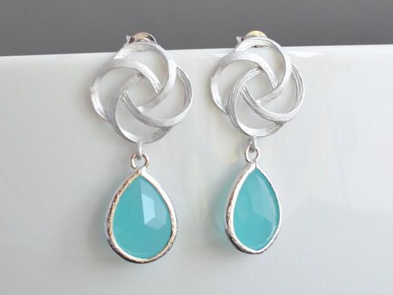 40% SALE, Aqua blue oriental rose  earrings, Silver earrings, Glass earrings, Wedding earrings, Bridal earrings, Stud earrings,Rose earrings