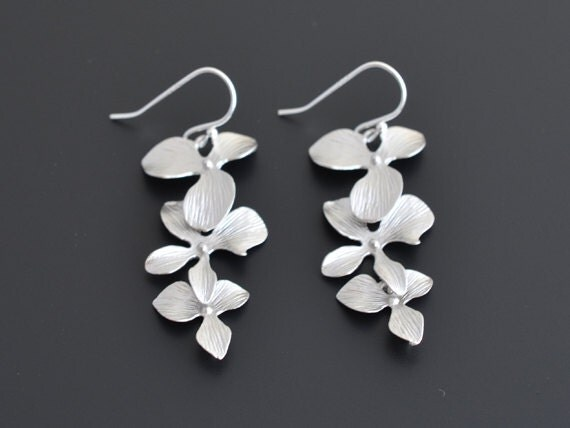 10% OFF, Orchid earrings,Silver earrings,Wedding jewelry,Mother's Day Gift,Flower earrings,Bridesmaid gift, Anniversary gift, Christmas gift