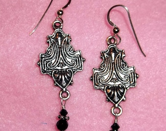 Nouveau style metal with onyx and crystal drop earrings