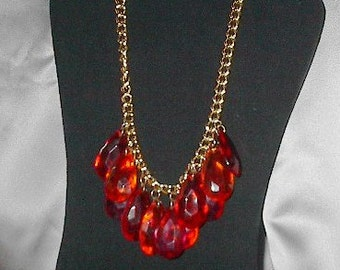 Luscious Rose Pink and Orange 1980s Necklace